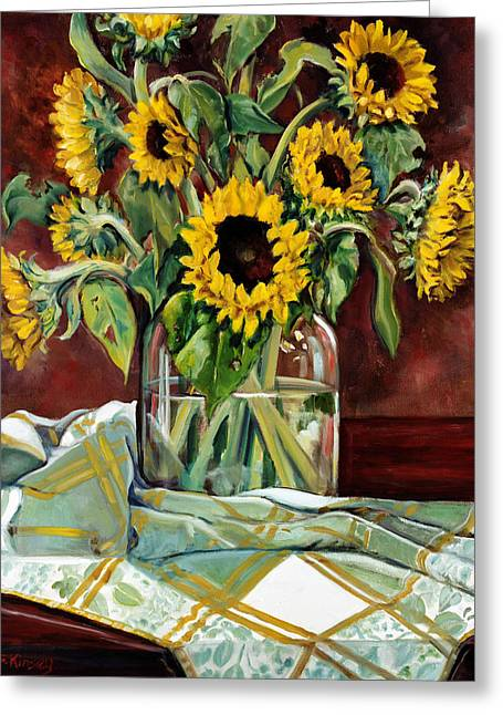 Sunflower Paintings Greeting Cards - Sunflowers in a Jar Greeting Card by Sheila Kinsey