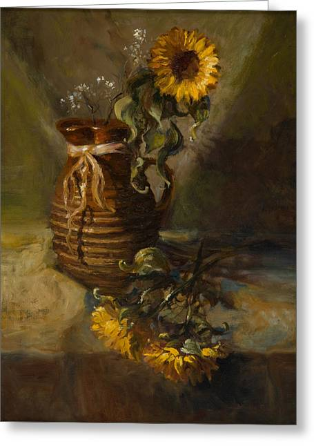 Yellow Sunflower Greeting Cards - Sunflowers in Clay Pitcher Greeting Card by Sandra Quintus