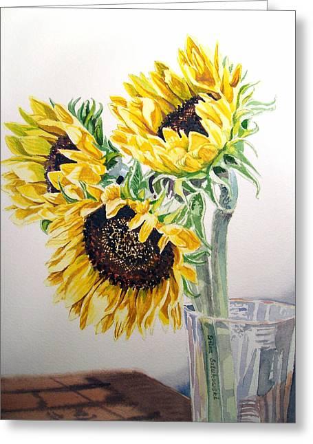 Sun Flower Greeting Cards - Sunflowers Greeting Card by Irina Sztukowski