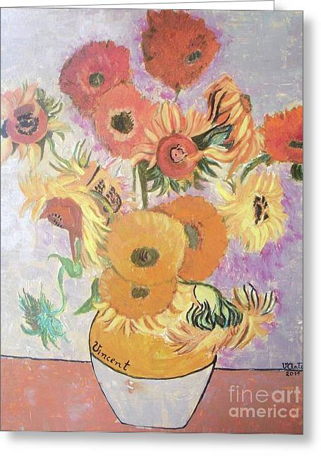 Pallet Knife Greeting Cards - Sunflowers-Original pallet knife painting on wood panel Greeting Card by Vesna Antic