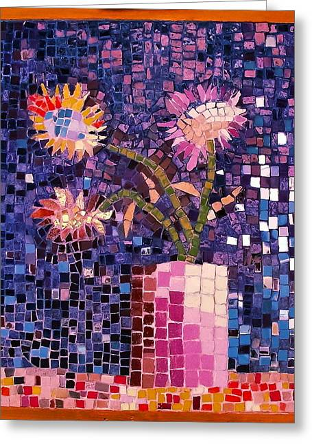 Mosaic Reliefs Greeting Cards - Sunflowers Greeting Card by Roberto Lacentra