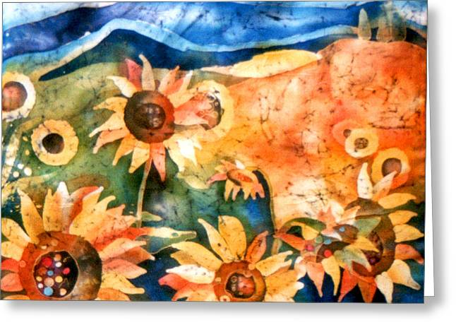 Chianti Tapestries - Textiles Greeting Cards - Sunflowers Greeting Card by Sandra Kern