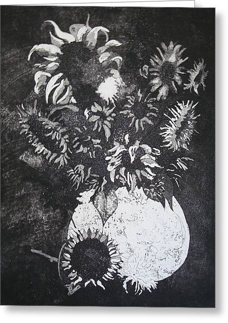 Flower Still Life Reliefs Greeting Cards - Sunflowers Greeting Card by Sonja Guard