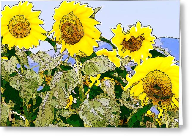Sunflowers Sunbathing Greeting Card by Artist and Photographer Laura Wrede