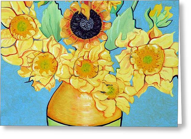 Sunflowers Tribute to Vincent van Gogh II Greeting Card by Christine Belt