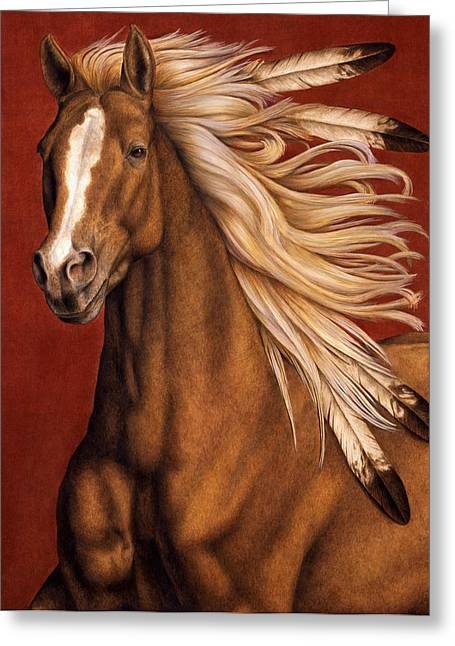 Horses Paintings Greeting Cards - Sunhorse Greeting Card by Pat Erickson