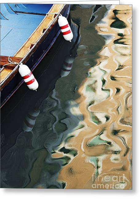 Reflections Of Shadows Greeting Cards - Sunlight and Boat Reflected in Canal Greeting Card by Jeremy Woodhouse