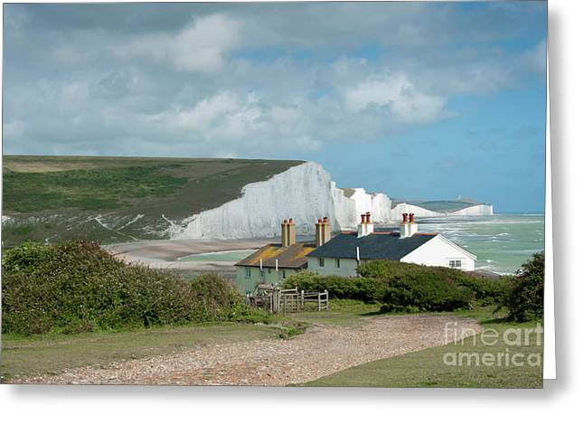 Seascape Photography Greeting Cards - Sunlight on the Seven Sisters Greeting Card by Donald Davis