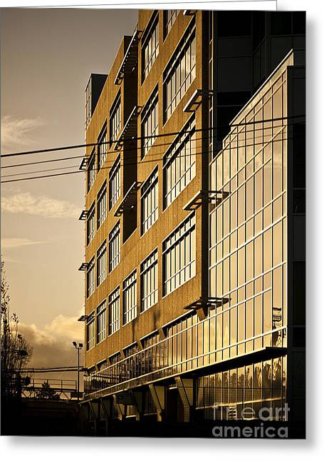Casting A Shadow Greeting Cards - Sunlight Reflecting Off of Building Facade Greeting Card by Eddy Joaquim