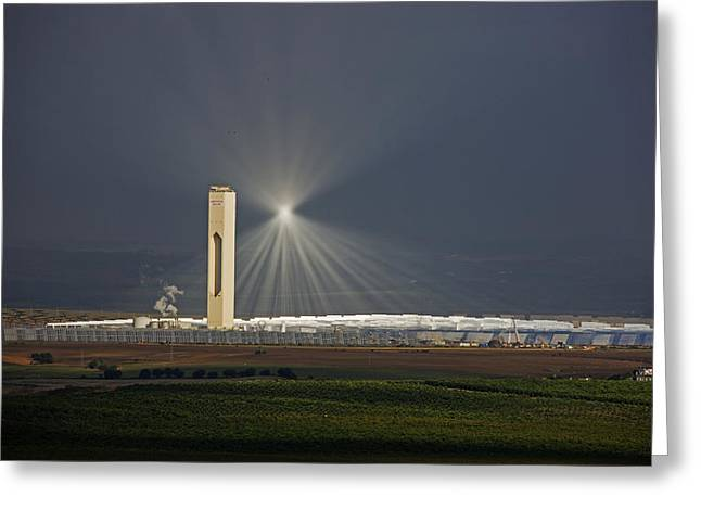 Power Plants Greeting Cards - Sunlight Reflects Off Of Low Clouds Greeting Card by Michael Melford