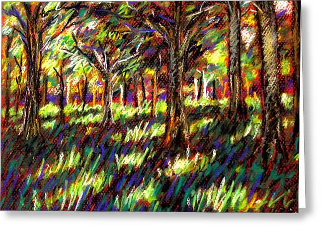 Canvas Pastels Greeting Cards - Sunlight Through The Trees Greeting Card by John  Nolan