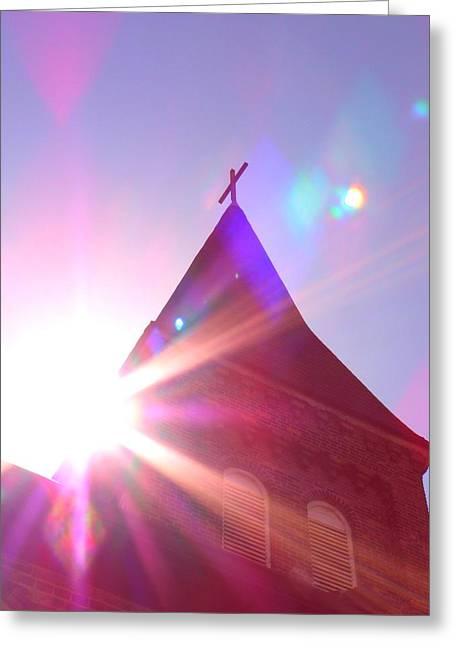 Religious Greeting Cards - Sunlit church Greeting Card by Yulia Litvinova