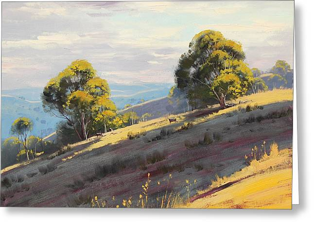 Central Greeting Cards - Sunlit Hills Hartley Greeting Card by Graham Gercken