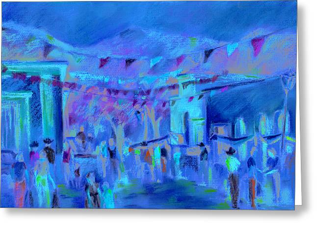 Streets Pastels Greeting Cards - Sunlit Market Greeting Card by Joan  Jones