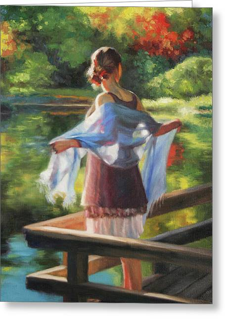 Backlit Paintings Greeting Cards - Sunlit Porch Greeting Card by Anna Bain