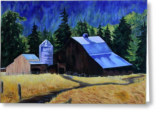 Barn Yard Greeting Cards - Sunlite Barn Greeting Card by Donna Drake