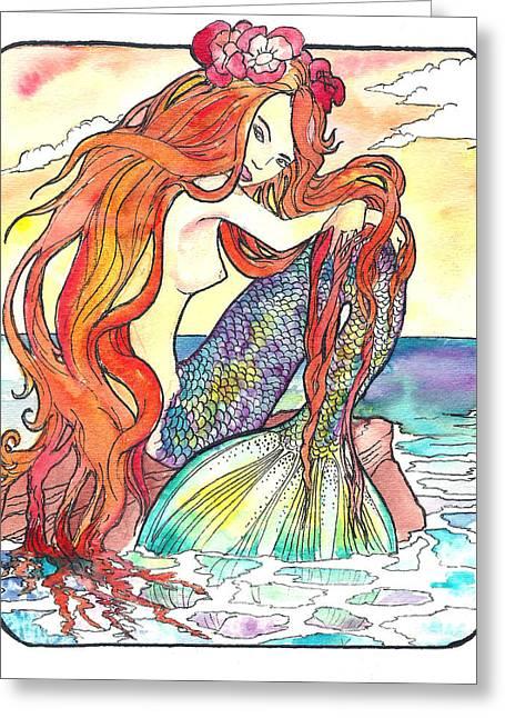 Jenn Cunningham Greeting Cards - Sunning Mermaid Greeting Card by Jenn Cunningham