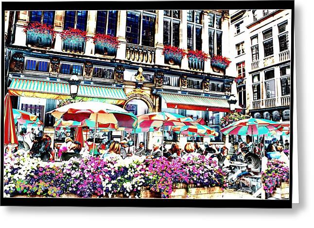 European Cafes Greeting Cards - Sunny Day on the Grand Place Greeting Card by Carol Groenen