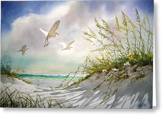 Sea Oats Greeting Cards - Sunny Dune Greeting Card by Tom  Bond