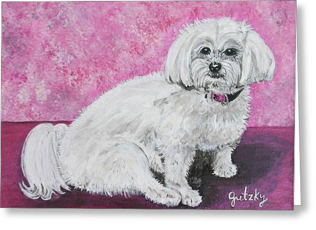 Toy Maltese Paintings Greeting Cards - Sunny Greeting Card by Paintings by Gretzky