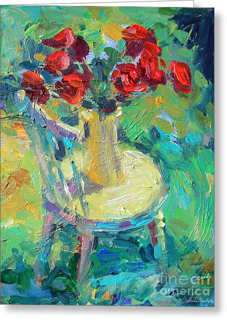 Textured Drawings Greeting Cards - Sunny Impressionistic rose flowers still life painting Greeting Card by Svetlana Novikova