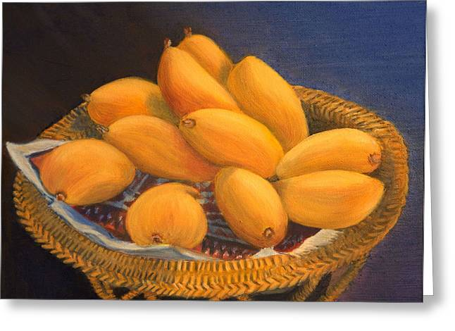 Mango Paintings Greeting Cards - Sunny Mangos Greeting Card by Elena Melnikova
