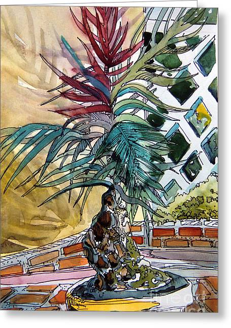 Potted Plants Drawings Greeting Cards - Sunny Palms Greeting Card by Mindy Newman