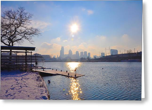 Philadelphia Greeting Cards - Sunny Schuylkill River in Winter Greeting Card by Bill Cannon