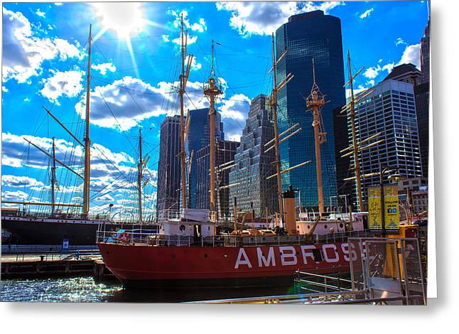 Historic Schooner Greeting Cards - Sunny Seaport Greeting Card by Jeff Stein