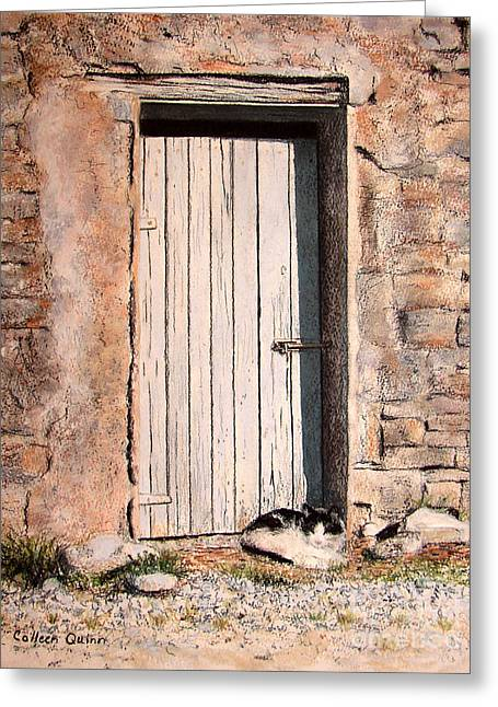 Wooden Building Pastels Greeting Cards - Sunny Spot For Sammy Greeting Card by Colleen Quinn