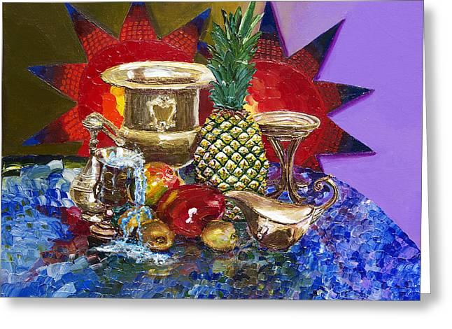Mango Paintings Greeting Cards - Sunny Tropical Fruits  Greeting Card by Yelena Rubin