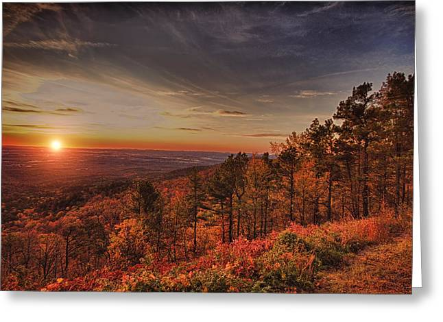 Scenic Drive Greeting Cards - Sunrise 2-Talimena Scenic Drive Arkansas Greeting Card by Douglas Barnard