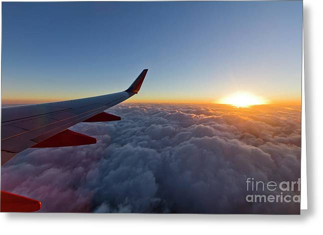 Airplane Greeting Cards - Sunrise Above the Clouds on Southwest Airlines Greeting Card by Dustin K Ryan