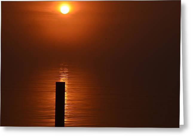 Randy J Heath Greeting Cards - Sunrise And Boat Dock Greeting Card by Randy J Heath