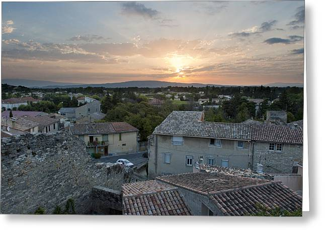 Provence Village Greeting Cards - Sunrise And Rooftops At Caumont Sur Greeting Card by Greg Dale