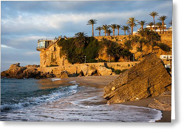 Costa Greeting Cards - Sunrise at Balcon de Europa in Nerja Greeting Card by Artur Bogacki