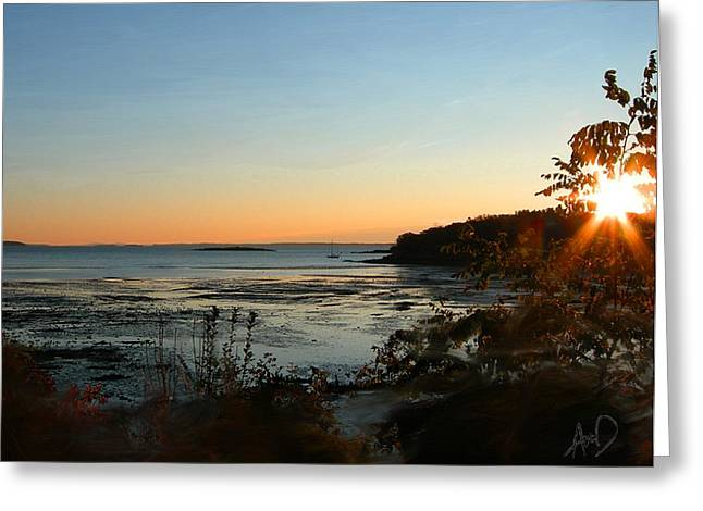 Photorealism Greeting Cards - Sunrise At Clam Cove Rockland Maine Greeting Card by Douglas Auld