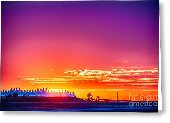 Scotts Scapes Greeting Cards - Sunrise at Denver International Airport Greeting Card by Scotts Scapes