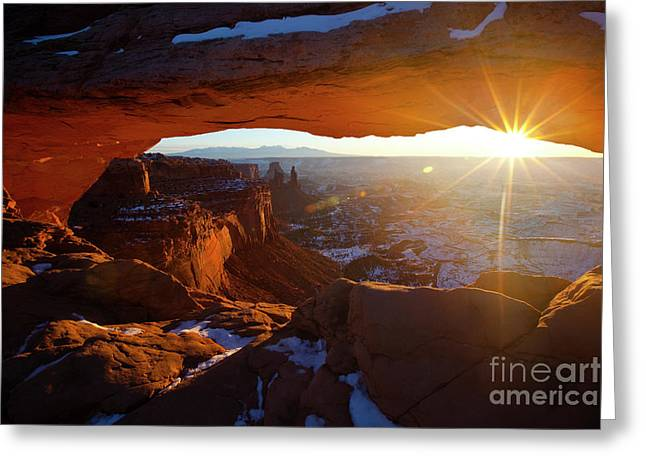 Southwest Greeting Cards - Sunrise at Mesa Arch Greeting Card by Keith Kapple