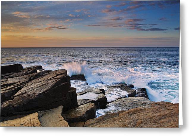 Acadia National Park Photographs Greeting Cards - Sunrise at Monument Cove Greeting Card by Rick Berk