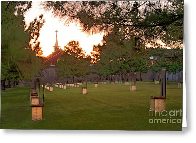 Tamyra Ayles Greeting Cards - Sunrise at the Alfred P Murrah Memorial II Greeting Card by Tamyra Ayles