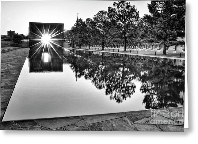 Tamyra Ayles Greeting Cards - Sunrise at the Alfred P Murrah Memorial Greeting Card by Tamyra Ayles