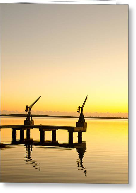 Davit Greeting Cards - Sunrise at the boat dock Greeting Card by Chris Thaxter