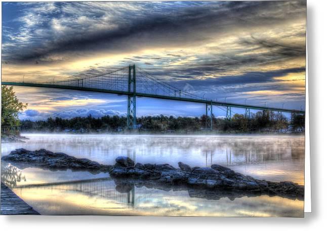 Sbatdorf Greeting Cards - Sunrise at the Bridge Greeting Card by Sharon Batdorf