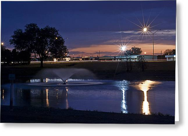 Fountain Digital Art Greeting Cards - Sunrise at the Park Greeting Card by Melany Sarafis