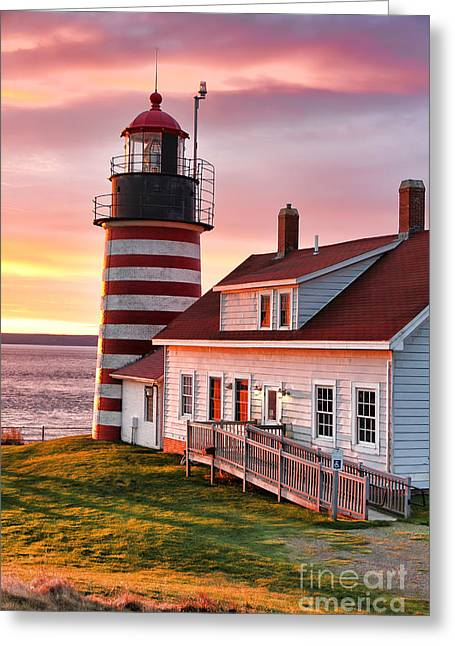 West Quoddy Head Lighthouse Greeting Cards - Sunrise at West Quoddy Head Greeting Card by Jack Schultz