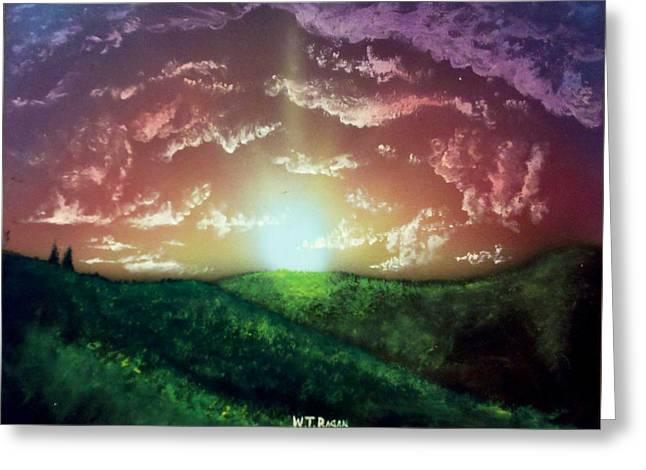 Bathroom Prints Mixed Media Greeting Cards - Sunrise Before Waking Greeting Card by Travis  Ragan