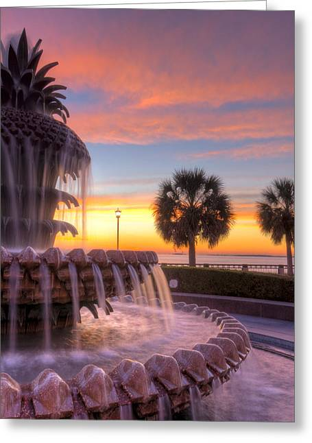 Fountain Digital Art Greeting Cards - Sunrise Charleston Pineapple Fountain  Greeting Card by Dustin K Ryan