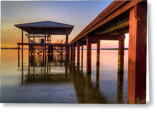 Sailboat Photos Greeting Cards - Sunrise Dock Greeting Card by Debra and Dave Vanderlaan