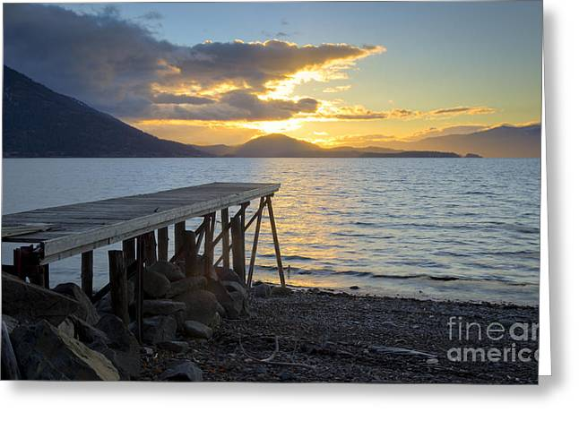 Lake Pend Oreille Greeting Cards - Sunrise Dock Greeting Card by Idaho Scenic Images Linda Lantzy